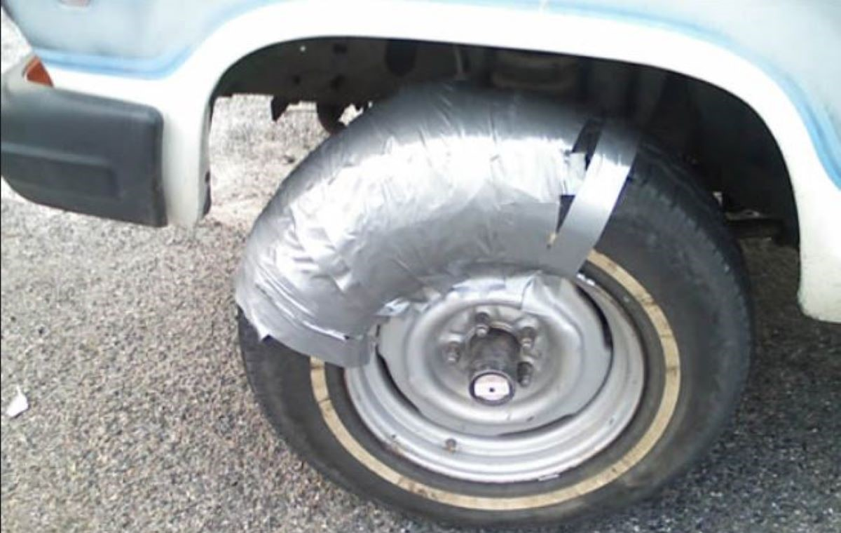duct tape tire fix, duct tape car